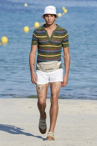 How to wear: olive horizontal striped polo, white shorts, beige leather low top sneakers, white hat