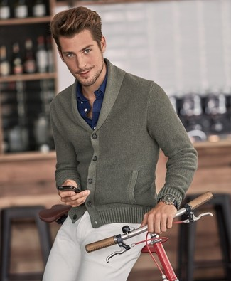 How to wear: olive shawl cardigan, navy long sleeve shirt, beige chinos
