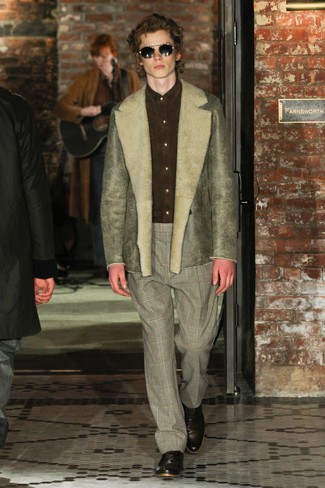 How to wear: olive shearling jacket, olive suede dress shirt, grey plaid dress pants, dark brown leather oxford shoes