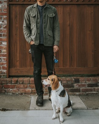 Olive Shirt Jacket Outfits For Men: An olive shirt jacket and black jeans are the kind of a fail-safe casual combo that you so awfully need when you have zero time. When it comes to footwear, this getup pairs brilliantly with black leather casual boots.