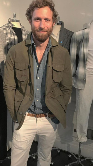 Dress in an olive shirt jacket and Buffalo David Bitton Buffalo Jeans Evan Slim Fit Jeans to create a great weekend-ready look. This look is absolutely great to welcome spring.