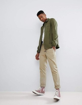 Beige Chinos Outfits: For an effortlessly sleek getup, wear an olive shirt jacket and beige chinos — these two pieces work wonderfully together. Finishing off with a pair of purple canvas high top sneakers is a guaranteed way to add a hint of stylish nonchalance to your outfit.