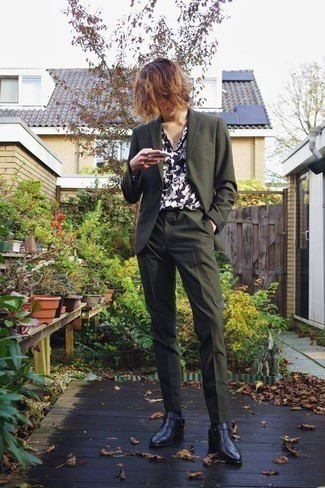 How to Wear a Navy and White Floral Shirt For Men: Go for a navy and white floral shirt and an olive suit and you're guaranteed to turn every head in the room. With shoes, go for something on the dressier end of the spectrum and finish this ensemble with black leather chelsea boots.