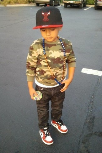 Boys' Olive Camouflage Sweater, Charcoal Jeans, White and Red Sneakers, Red and Black Baseball Cap