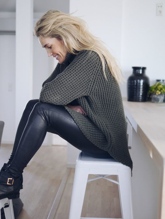 Sweater Dress Leggings And Ankle Boots Sweater Grey