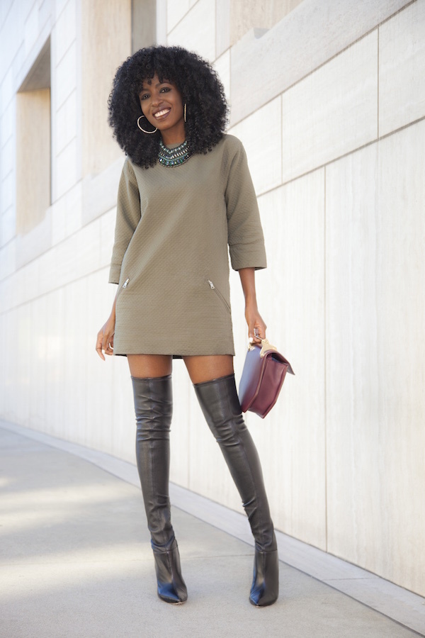 62deb6c0d6a How to Wear a Dark Green Sweater Dress (15 looks   outfits ...