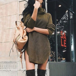How to Wear an Olive Sweater Dress: Choose an olive sweater dress for a practical getup that's also pieced together nicely. Introduce black suede over the knee boots to the equation and ta-da: your ensemble is complete.