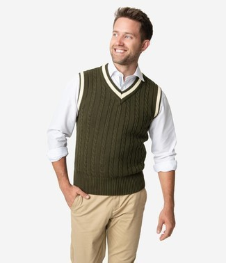 Men's Looks & Outfits: What To Wear In 2020: This combination of an olive sweater vest and khaki chinos looks considered and makes any gentleman look infinitely cooler.