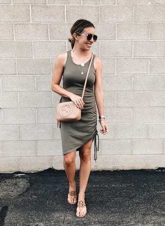 Tan Leather Thong Sandals Outfits: Choose an olive tank dress to get a laid-back yet stylish ensemble. Introduce tan leather thong sandals to the equation et voila, the ensemble is complete.