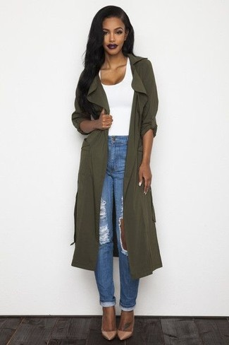 If you're all about feeling relaxed when it comes to dressing up, this combination of an olive lightweight trenchcoat and blue distressed boyfriend jeans is totally you. A pair of camel leather pumps adds some real flair to this look. You can bet this ensemble will become your uniform come spring.