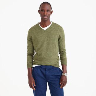 Men's Olive V-neck Sweater, White Crew-neck T-shirt, Navy Chinos