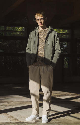 Windbreaker Outfits For Men: A windbreaker and khaki cargo pants are indispensable menswear staples if you're putting together a casual wardrobe that matches up to the highest sartorial standards. Our favorite of a ton of ways to finish this look is white canvas low top sneakers.