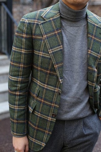 How to wear: olive check wool blazer, grey turtleneck, grey wool dress pants