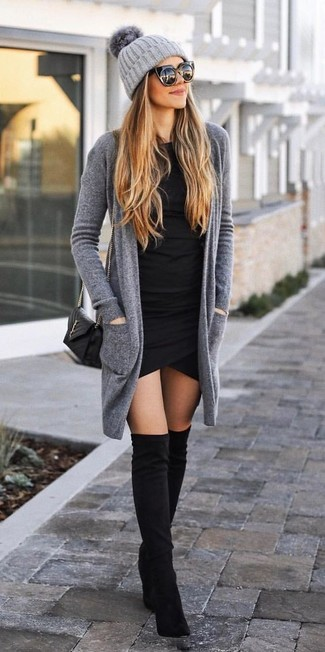 How to wear: grey open cardigan, black bodycon dress, black suede over the knee boots, black quilted leather crossbody bag