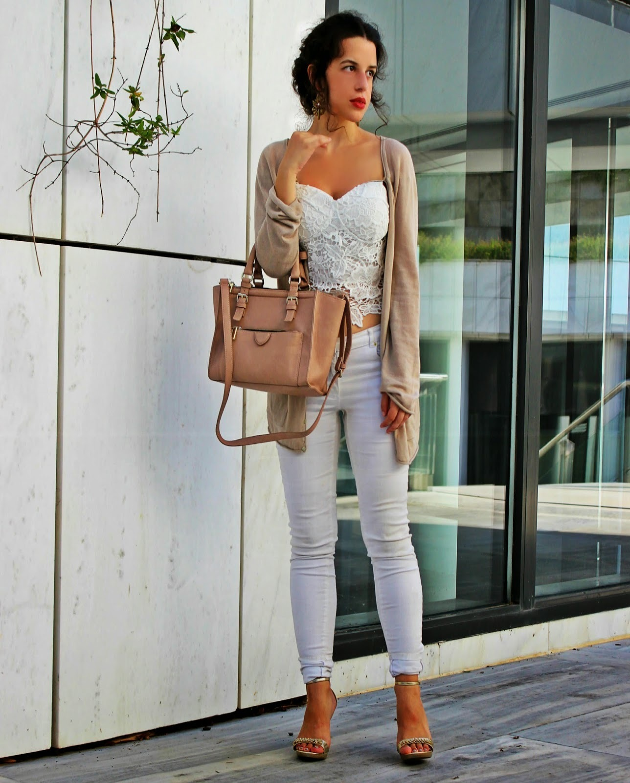Women's Beige Open Cardigan, White Lace Bustier Top, White Skinny ...