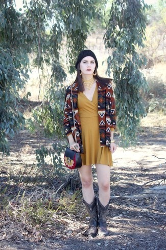 Women's Brown Geometric Open Cardigan, Mustard Casual Dress, Black Leather Mid-Calf Boots, Black Leather Crossbody Bag