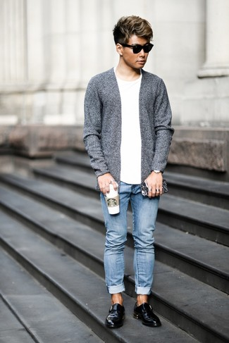 How to wear: grey open cardigan, white crew-neck t-shirt, light blue jeans, black leather monks