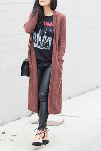 Consider wearing a burgundy open cardigan and black leather leggings for a casual-cool vibe. Black suede pumps will add a touch of polish to an otherwise low-key look. An ensemble like this makes it easy to embrace weird transeasonal weather.