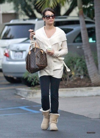 How to wear: white open cardigan, white crew-neck t-shirt, charcoal leggings, beige uggs