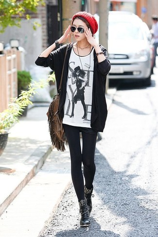 How to wear: black open cardigan, white and black print crew-neck t-shirt, black shorts, black leather lace-up flat boots