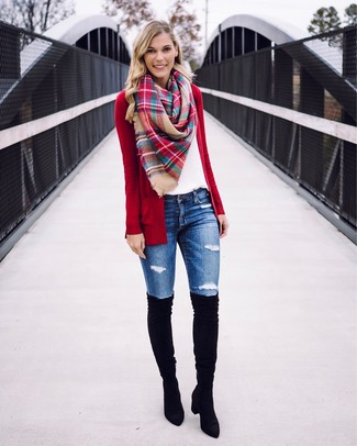 How to wear: red open cardigan, white crew-neck t-shirt, blue ripped skinny jeans, black suede over the knee boots