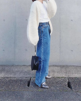 How to wear: white knit open cardigan, white crew-neck t-shirt, blue denim wide leg pants, silver leather loafers