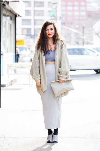 How to wear: beige knit open cardigan, grey cropped top, grey maxi skirt, grey suede mules