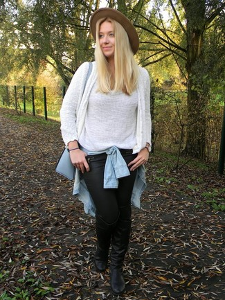 How to Wear a Light Blue Denim Shirt For Women: For To pull together a casual look with a chic twist, you can rock a light blue denim shirt and black leather skinny pants. If you're hesitant about how to finish off, a pair of black leather over the knee boots is a nice idea.