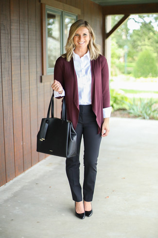 How to wear: burgundy open cardigan, white dress shirt, black dress pants, black leather pumps