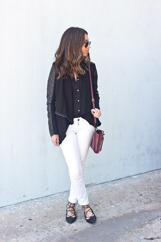 How to wear: black leather open cardigan, black dress shirt, white jeans, black leather ballerina shoes