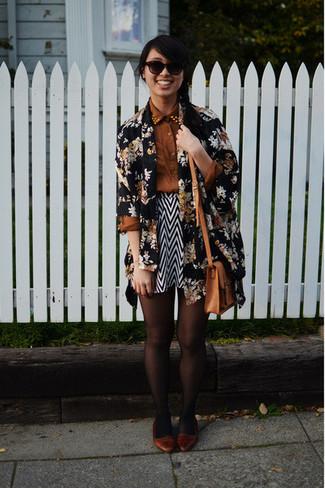 Women's Black Floral Open Cardigan, Brown Dress Shirt, Black and White Chevron Skater Skirt, Brown Leather Ballerina Shoes