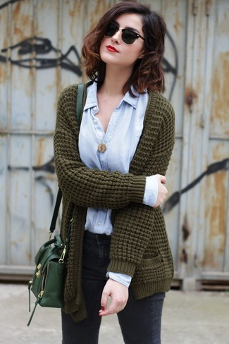 How to wear: olive knit open cardigan, light blue dress shirt, charcoal skinny jeans, dark green leather crossbody bag