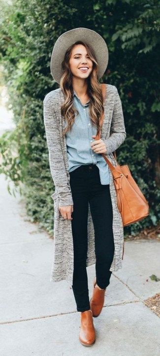How to wear: grey open cardigan, light blue chambray dress shirt, black skinny jeans, tan leather ankle boots