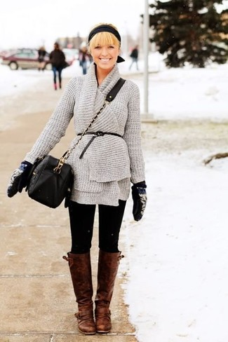 How to wear: grey knit open cardigan, black leggings, brown leather knee high boots, black quilted leather crossbody bag