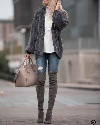 How to wear: charcoal knit open cardigan, white crochet long sleeve blouse, navy ripped skinny jeans, charcoal suede over the knee boots