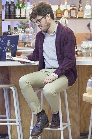 How to Wear Dark Brown Leather Brogue Boots: This casual pairing of a dark purple open cardigan and beige chinos is super easy to throw together in no time flat, helping you look amazing and ready for anything without spending too much time combing through your wardrobe. In the footwear department, go for something on the smarter end of the spectrum with dark brown leather brogue boots.