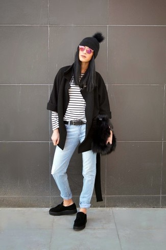 How to wear: black open cardigan, white and black horizontal striped long sleeve t-shirt, light blue jeans, black suede platform loafers