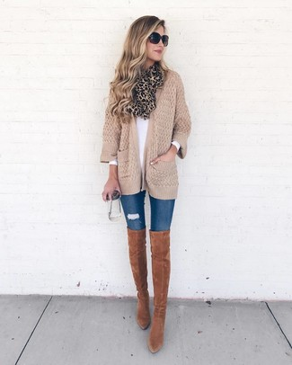 How to wear: tan knit open cardigan, white long sleeve t-shirt, blue ripped skinny jeans, tobacco suede over the knee boots