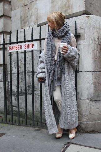 Women's Grey Knit Open Cardigan, Beige Knit Oversized Sweater ...