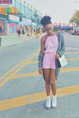 How to wear: grey knit open cardigan, pink playsuit, white canvas high top sneakers, silver leather crossbody bag
