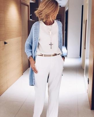 How to wear: light blue open cardigan, white chiffon sleeveless top, white wide leg pants, gold leather belt