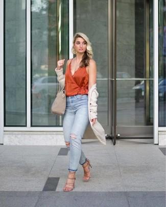 How to wear: beige knit open cardigan, orange silk tank, light blue ripped jeans, beige suede heeled sandals