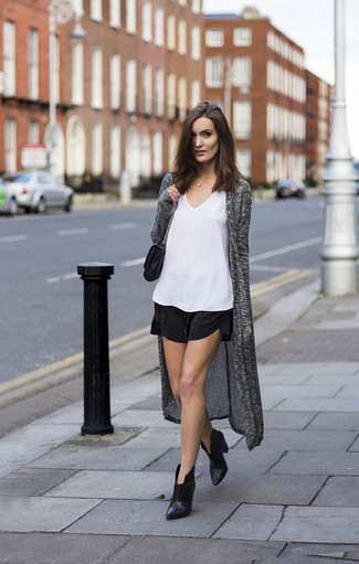 How to wear: grey open cardigan, white silk tank, black silk shorts, black leather ankle boots
