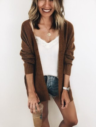 How to wear: dark brown knit open cardigan, white silk tank, blue denim shorts, gold pendant