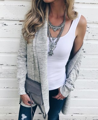 How to wear: grey open cardigan, white tank, navy ripped skinny jeans, grey leather crossbody bag