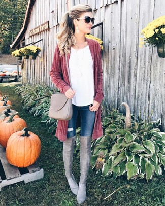 Rock a dark red open cardigan with dark blue ripped skinny jeans to create a great weekend-ready look. A pair of grey suede thigh high boots will add some real flair to this ensemble. As you can guess, this is also a cool option come warmer days.