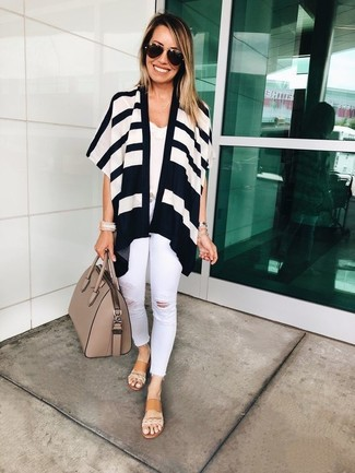 How to wear: white and black horizontal striped open cardigan, white lace tank, white ripped skinny jeans, tan leather flat sandals