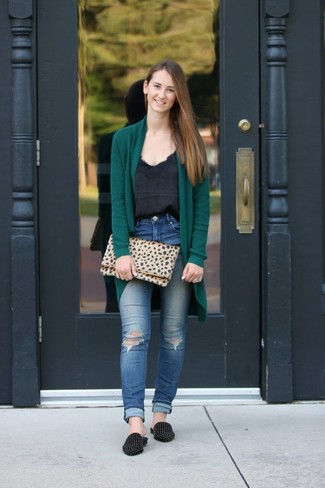 How to wear: dark green open cardigan, black silk tank, blue ripped skinny jeans, black studded suede loafers