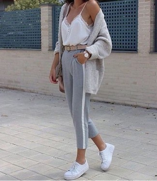 How to wear: grey open cardigan, white lace tank, grey sweatpants, white leather low top sneakers