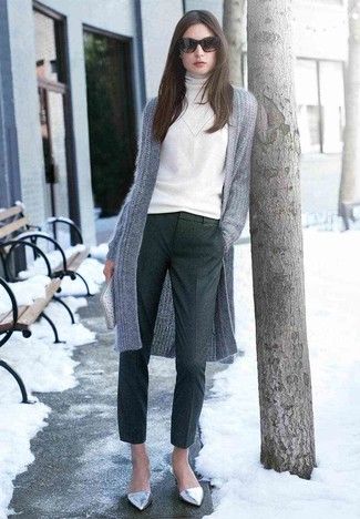How to wear: grey knit open cardigan, white turtleneck, charcoal wool dress pants, silver leather ballerina shoes